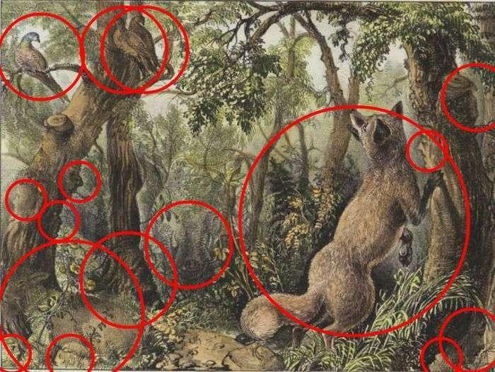 Знайдіть всіх тварин і всі особи на цій картині (2 фото)