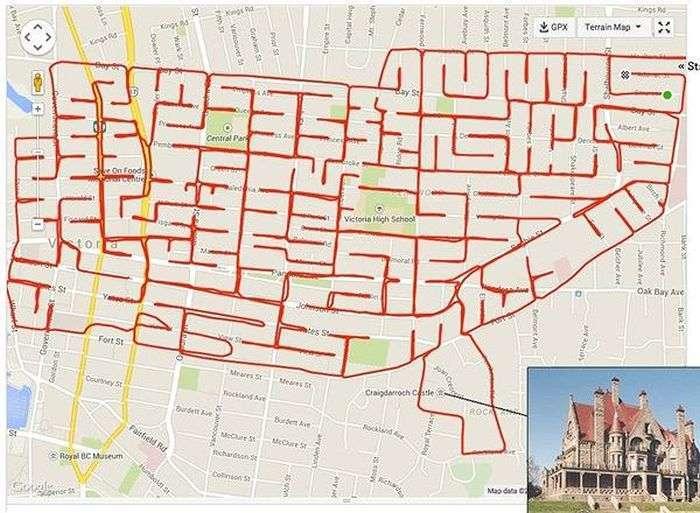 Художник створює прикольні малюнки з допомогою велосипеда і GPS-трекера (9 картинок)
