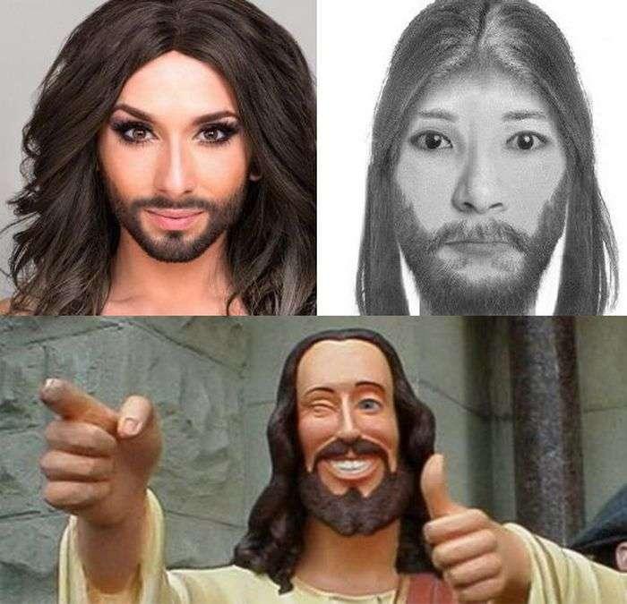Фоторобот злочинця з Бобруйська нагадав користувачам мережі Ісуса Христа і Кончиту Вурст (3 фото)