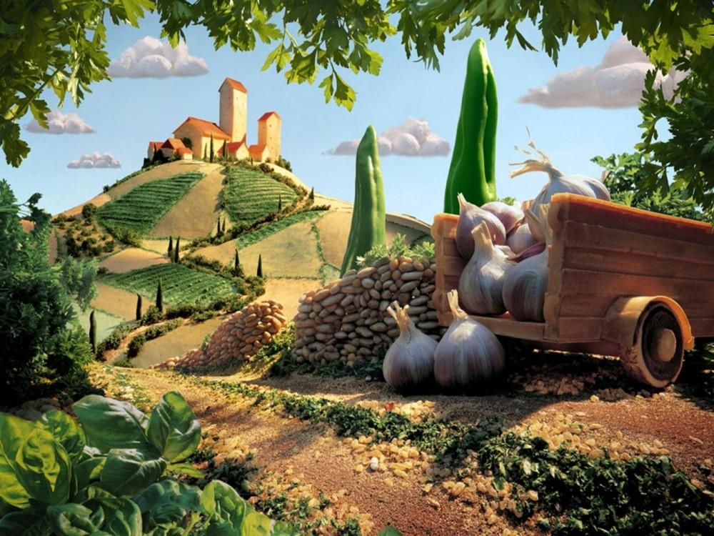 Поразительные пейзажи, сделанные из продуктов еда