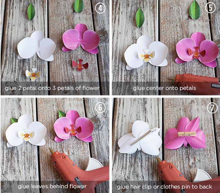 Орхидея из бумаги для украшения подарков креатив