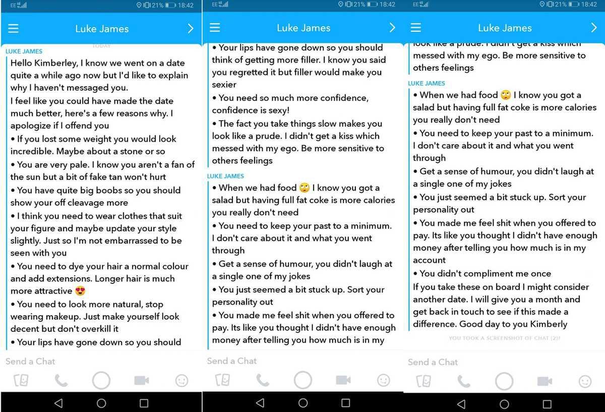 «Похудей, покажи грудь»: парень прислал девушке требования после свидания