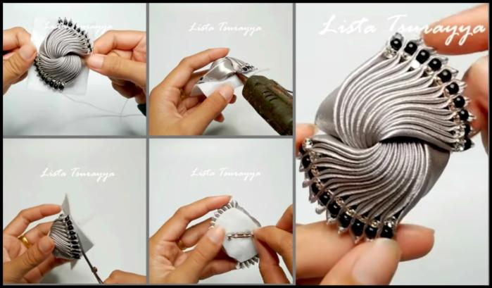 Элегантная брошь-канзаши - отличный подарок своими руками мастер класс