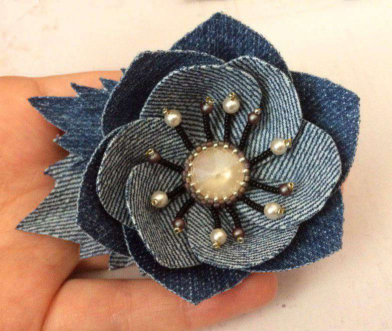 Чего только не делают из старых джинсов, даже такие цветы! handmake